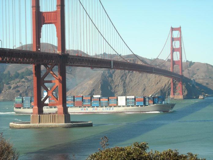 Container ship under Golden Gate Bridge
