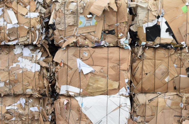 Bales of OCC cardboard for recycling